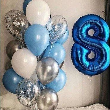 Облако из шаров в бело-голубых тонах и цифра 8 синяя