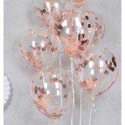 Шарики с конфетти розовое золото круги