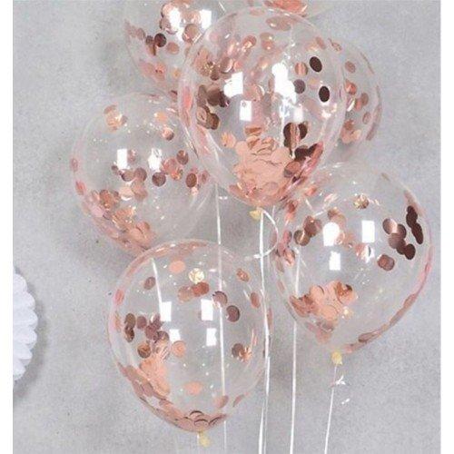 Прозрачные шарики с круглым конфетти розовое золото
