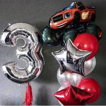 Букет из воздушных шариков со Вспышем и серебряной цифрой 3