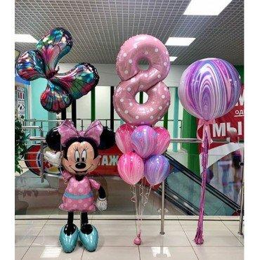 Украшение воздушными шарами на День Рождения девочки с Минни Маус