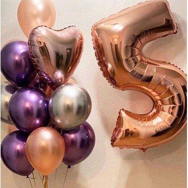 Букет из шаров хром на 5 лет с цифрой