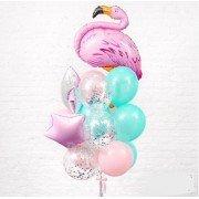 Фонтан из шаров с фламинго и конфетти