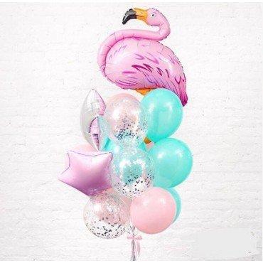 Фонтан из шариков с фламинго и розовыми шариками