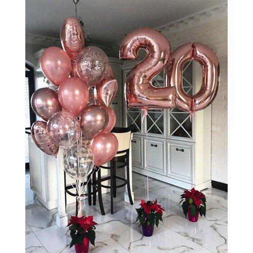 Композиция из шаров для девушки на 20 лет в розовом золоте