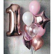 Шарики на 1 годик для девочки в розовом золоте