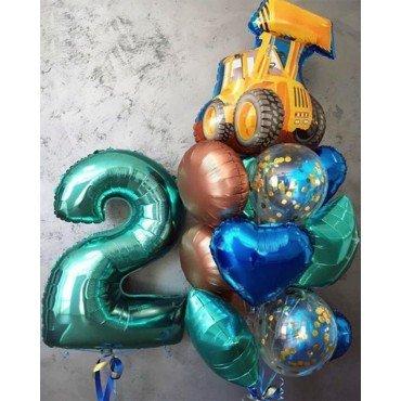 Воздушные шарики на 2 года для мальчика с цифрой и трактором