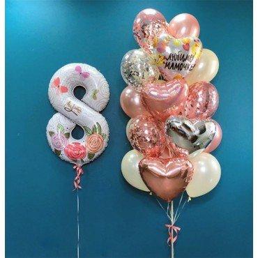 Воздушные шарики на 8 марта для мамы