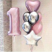 Шарики на 1 год с розовой цифрой и шариками хром