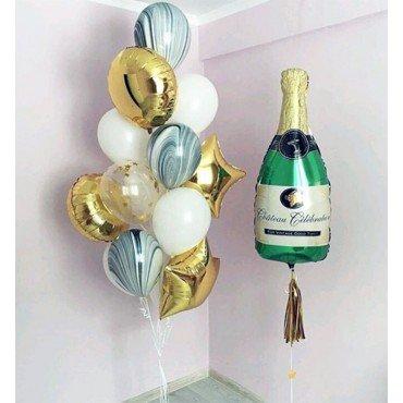 Оформление воздушными шарами на юбилей с бутылкой шампанского