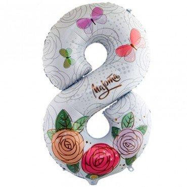 Шар цифра на восьмое марта для девушек с рисунком