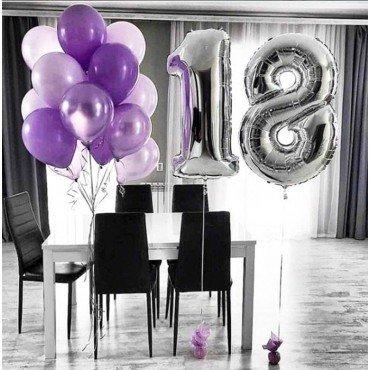 Композиция из шаров для девушки на 18 лет в сиреневом цвете
