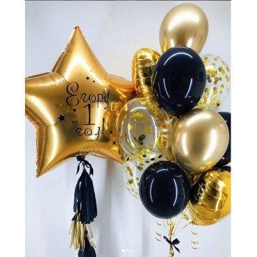 Украшение шариками на 1 годик в чёрно-золотом стиле