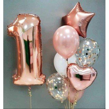 Шарики на один годик в стиле розовое золото с цифрой