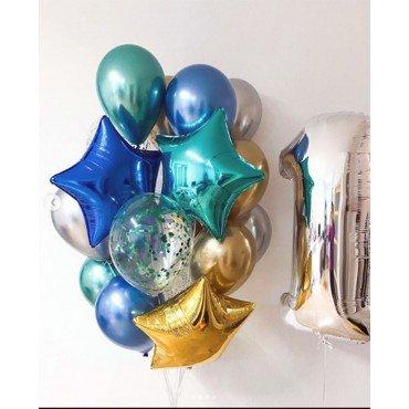 Украшение шарами на один годик с серебряной цифрой