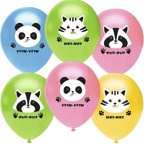 Гелиевые шарики с изображением милых зверушек
