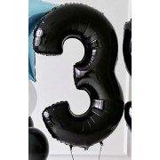 Шар цифра 3 чёрная