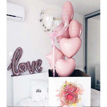 Подарок с шарами на 8 марта для любимой