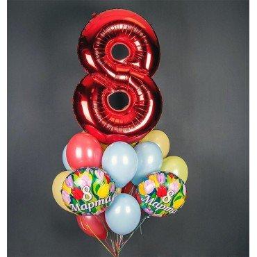 Фонтан из шаров на 8 марта с красной цифрой