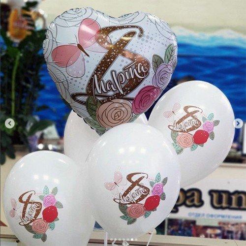 Сердечко и шарики с надписями на 8 марта