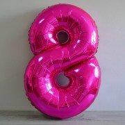 Фольгированная цифра 8 фуксия (малиновая)