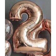 Фольгированная цифра 2 цвета розовое золото