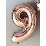 Фольгированная цифра 9 цвета розовое золото
