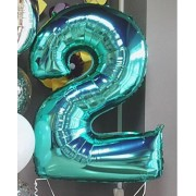 Фольгированная цифра 2 бирюзового цвета