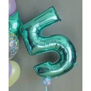 Фольгированная цифра 5 бирюзового цвета