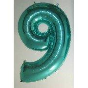 Фольгированная цифра 9 бирюзового цвета