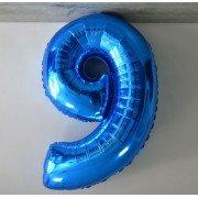 Фольгированная цифра 9 синего цвета