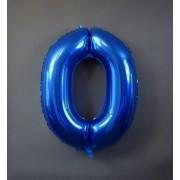 Фольгированная цифра 0 синего цвета