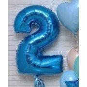 Фольгированная цифра 2 синего цвета