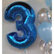 Шар цифра 3 синего цвета