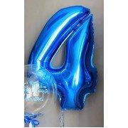 Фольгированная цифра 4 синего цвета