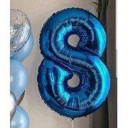 Фольгированная цифра 8 синего цвета