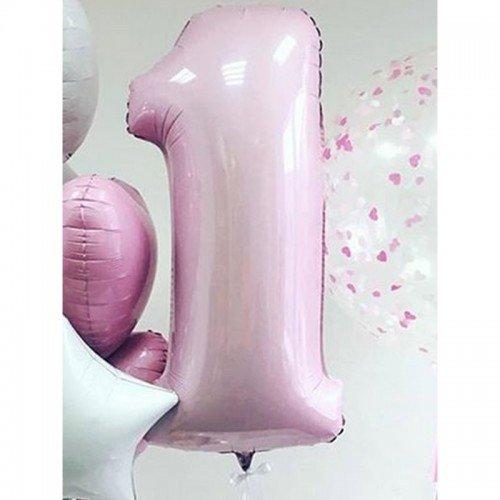 Цифра фольгированная 1 светло розового цвета