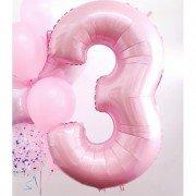 Фольгированная цифра 3 светло розового цвета