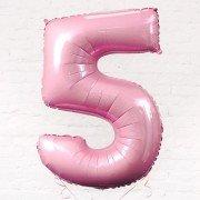 Фольгированная цифра 5 светло розового цвета