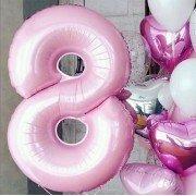 Фольгированная цифра 8 светло розового цвета
