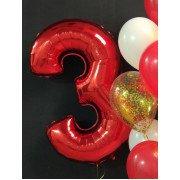 Шар цифра 3 красного цвета