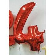 Шар цифра 4 красного цвета