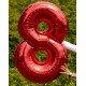 Шар цифра 8 красного цвета