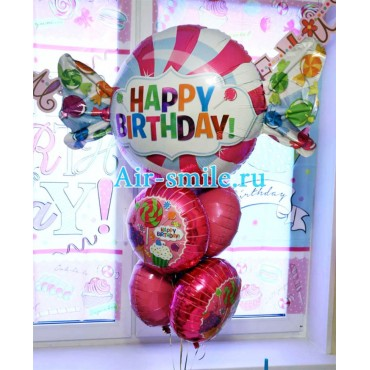 Букет из шариков с фольгированной конфетой с надписью