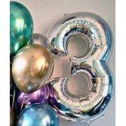 Шар цифра 3 серебряного цвета