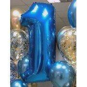Фольгированная цифра 1 синего цвета