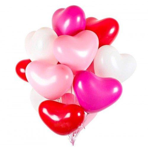 Шарики латексные для влюбленных сердца микс цветов