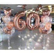 Шарики на юбилей 60 лет розовое золото