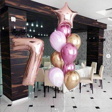 Воздушные шары для девочки в стиле розовое золото