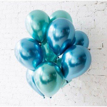 Хромированные воздушные шарики синего и зелёного цвета
